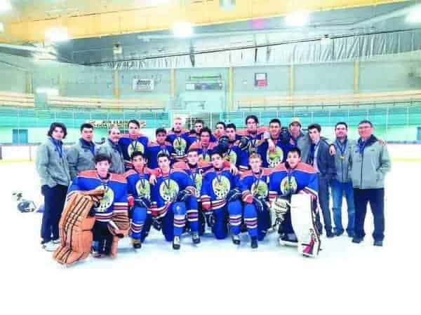 Team North's boys squad will be looking to defend or better their silver-medal performance from one years ago at the National Aboriginal Hockey Championships, which begin on May 1 in Cowichan, B.C. Last year's team consisted of, front row from left, Seth Ningeongan, Tyler Akeeagok, River Ross, Austin Caza, Qarqitaq Kusugak-Clark, Kaine Comin and Josh Tetlichi; back row, Alex Skinner (injured), assistant coach Neco Towtongie, head coach Les Skinner, Drake Giroux, Liam Wong, Jaden Sigurdson, Ben McClelland, Johnny Elias, Jonas Leas, Stephane Nukapiak, Kaidan McDonald, Tyler Sabourin, Tanner Mandeville (injured), Ryan Skinner, team manager Derek Squirrel and assistant coach Tim Gordon. - photo courtesy of Aboriginal Sports Circle of the NWT