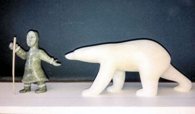 """A large-scale replica of Cape Dorset artist Koomuatuk """"Kuzy"""" Curley's carving of an elder leading a polar bear has been selected for placement at the entrance of the Canadian High Arctic Research Centre opening in Cambridge Bay this summer. - photo courtesy of Isabelle Laurier"""
