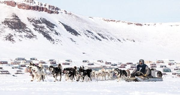Andy Attagutalukutuk of Iglulik heads for Uluksa Point near Arctic Bay on the opening day of the 2017 Nunavut Quest in Arctic Bay on April 20. Attagutalukutuk would go on to win the race for the fourth time in five years as he crossed the finish line first in Iglulik on April 28. photo courtesy of Facebook