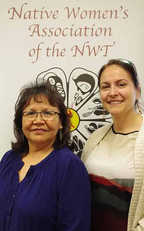 Marie Speakman, left, and Yvonne Doolittle share a smile at a sharing circle organized by the Native Women's Association of the NWT on May 31 in Yellowknife. Speakman, a long time victim service worker and advocate for victims of crime and violence, put together the circle. It is part of Victims and Survivors of Crime week, which wrapped up June 3. Emelie Peacock/NNSL Photo
