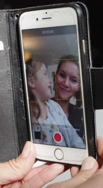A smartphone is all Itoah Scott-Enns uses to create her Tlicho language videos. Her Facebook page Speak Tlicho to Me is inspired by a project by the Saami Council, a non-governmental organization representing the Saami indigenous people. Pictured here with her daughter Setiya. Emelie Peacock/NNSL photo