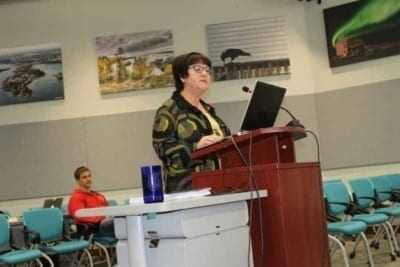 Sharolynn Woodward, director of corporate services, delivers a presentation on the proposed 2018 city budget during a meeting of the Municipal Services Committee in 2017. NNSL file photo