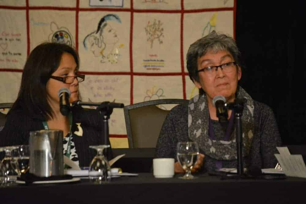 Elisapee Davidee Aningmiuq (right) testifies about the role of culture in the health of Inuit during the Sept. 10 knowledge keeper and expert hearing for the MMIWG Inquiry.
