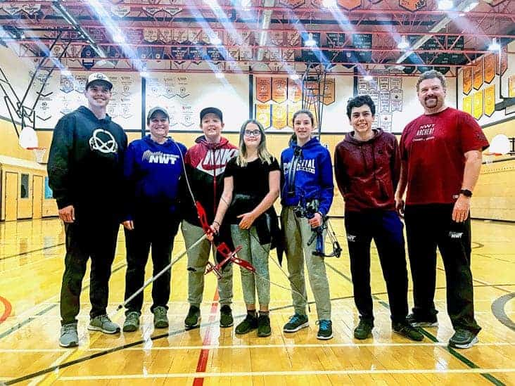 Team NT's archery team for the 2019 Canada Winter Games is all set to go following the trials at Sir John Franklin Gymnasium on Saturday. They are, from left, Carson Roche of Archery NT, coach Cynthia White (Fort Smith), Fergus Rutherford-Simon (Fort Smith), Tayla Minute (Fort Smith), Katie Genge, Bailey Johnston and coach Eugene Roche. photo courtesy of Beth Hudson