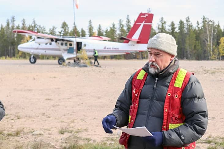 Ron Breadmore, project manager of the Bullmoose-Ruth Remediation Project, addresses media at the Bullmoose site's airstrip. Dylan Short/NNSL photo