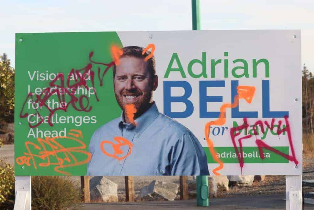 A campaign sign for Adrian Bell was vandalized over the weekend. Dylan Short/NNSL photo