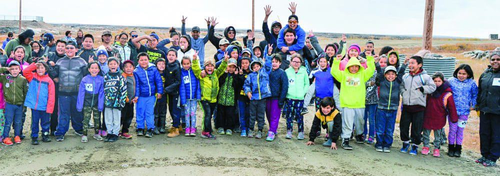 Participants in the annual Terry Fox Run at Victor Sammurtok School are ready to hit the road in Chesterfield Inlet on Sept. 14, 2018. photo courtesy Glen Brocklebank