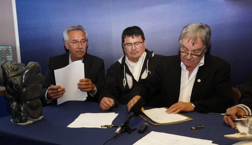 A First Air and Canadian North merger signing ceremony was held in Montreal on Friday. From left, Johnny Adams, chair of the First Air board; Duane Smith, president of the Inuvialuit Regional Corporation; and Charlie Watt, president of Makivik Corporation. Photo courtesy of Makivik Corporation photo courtesy of Makivik Corporation