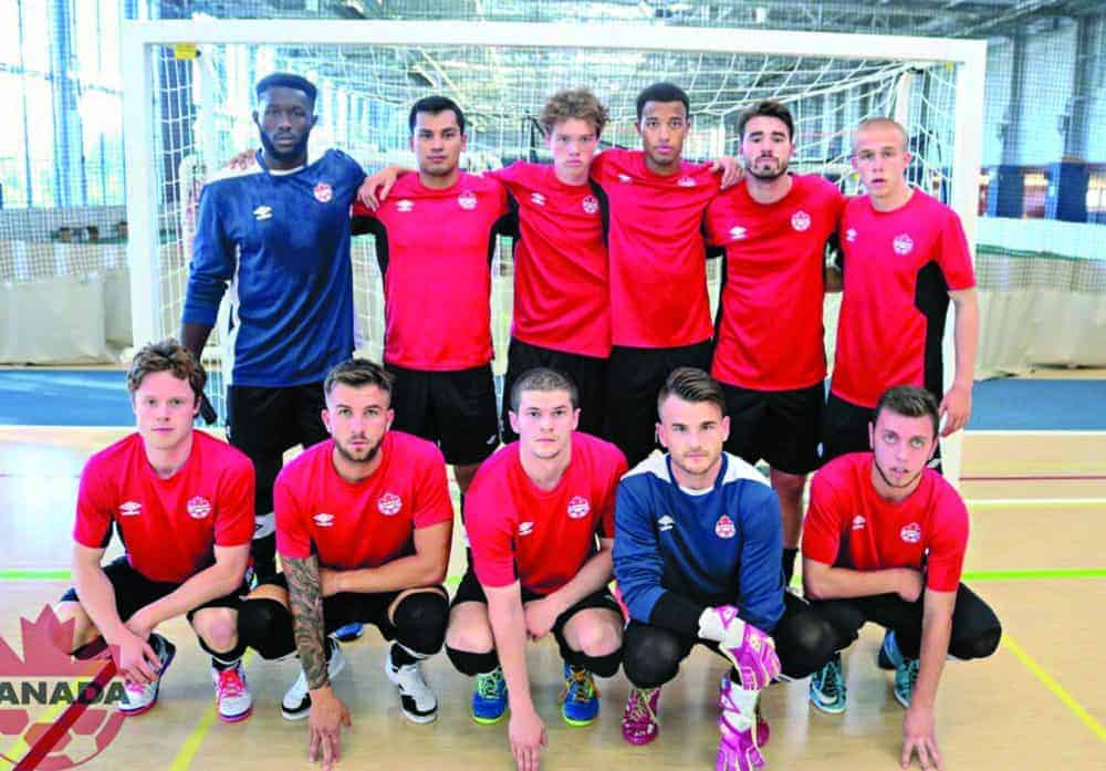 Kris Ukpataujaq, second from left standing, of Rankin Inlet poses with his split-squad team after being one of 20 players invited to a Team Canada national futsal evaluation camp in Gatineau, Que., in September of 2018. photo courtesy Kris Ukpataujaq