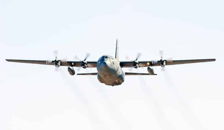 A Hercules aircraft was among the resources deployed to search for three missing hunters in Cape Dorset on Oct. 10. One of the hunters was rescued, another was found deceased. The third is presumed dead. Cpl D Hiebert/Canadian Armed Forces photo.