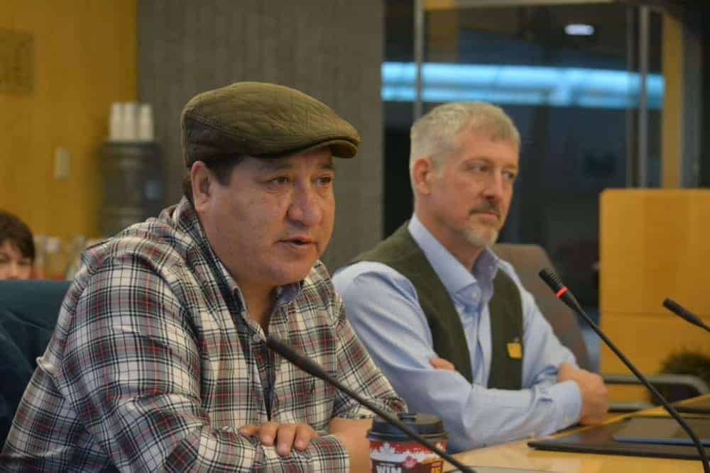 Lutsel K'e Dene First Nation's chief negotiator Steven Nitah, left, is pressing the legislative assembly to pass legislation on Thaidene Nene, a proposed national park. Nitah and lawyer Larry Innes made a presentation to the Standing Committee on Economic Development and Environment on Oct. 17. NNSL file photo.