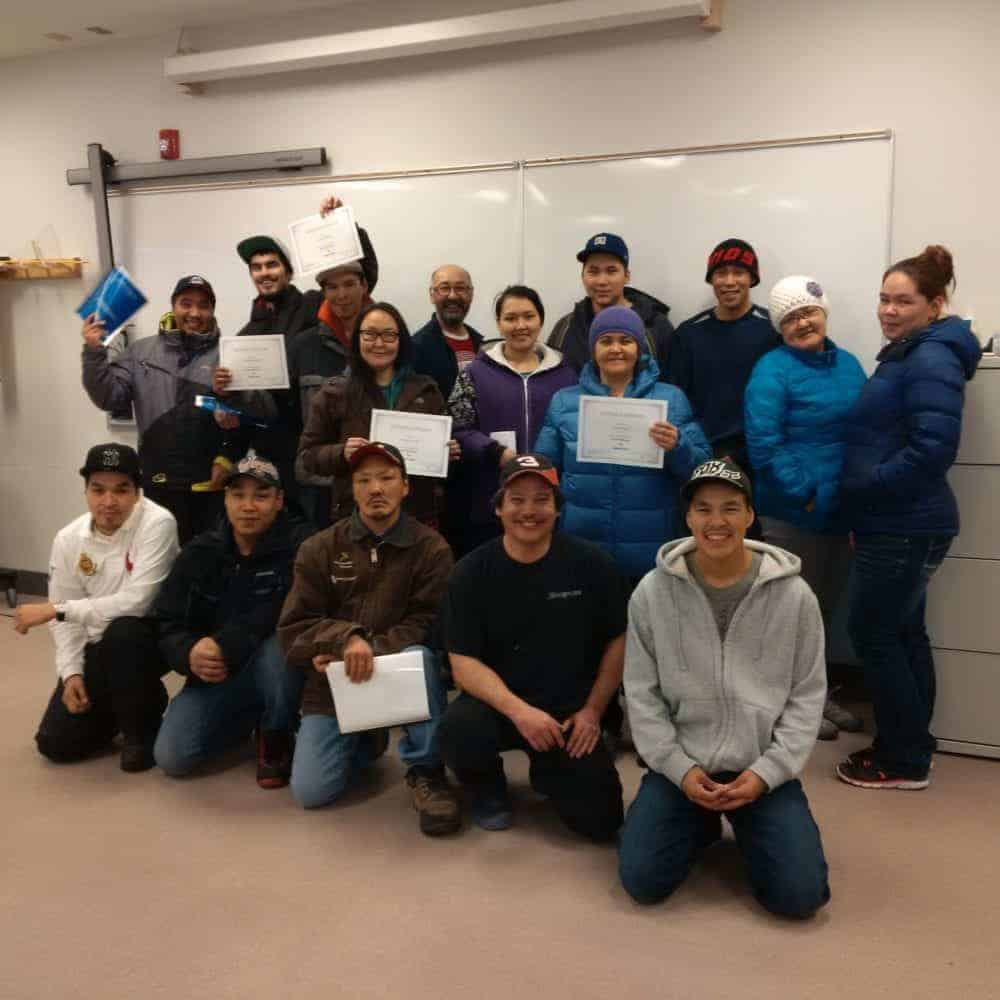 This was one of many graduating classes from Kivalliq Mine Training Society courses in 2015. There are doubts about how active the mine training society remains. Territorial politicians are talking about establishing a territory-wide mine training centre to serve Nunavummiut. photo courtesy of the Kialliq Mine Training Society