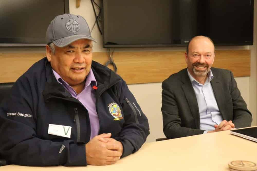 Chief Edward Sangris of the Yellowknives Dene First Nation, left and Matt Spence, Regional Director General, CIRNAC, present the most recent findings on arsenic levels in Ndilo at a technical briefing earlier this week. Dylan Short/NNSL photo