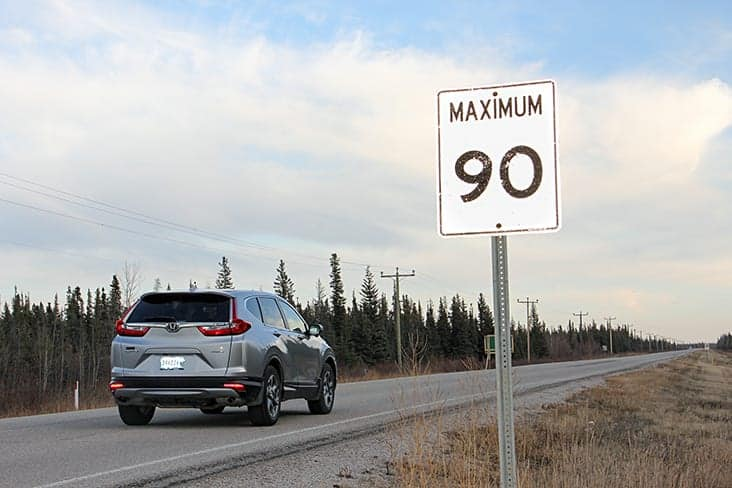 A sign on Highway 5 just outside Hay River indicates the 90 km/h speed limit all the way to Fort Smith. Paul Bickford/NNSL photo.