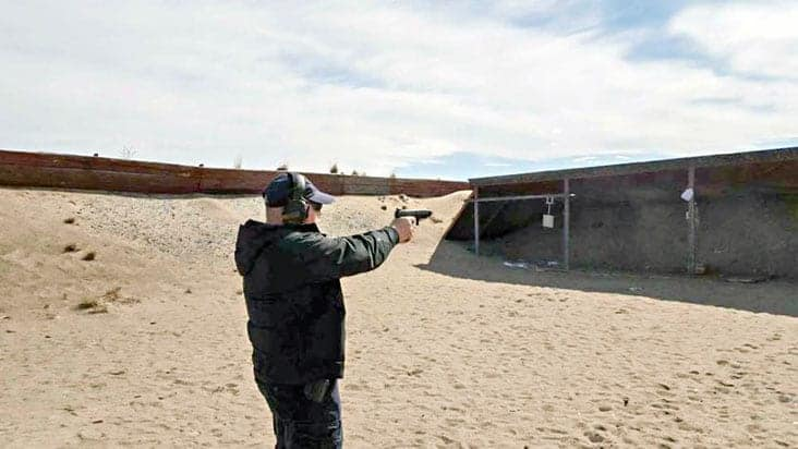 Robert Anderson gets some target practice in at the Yellowknife Shooting Range. photo courtesy of Robert Anderson