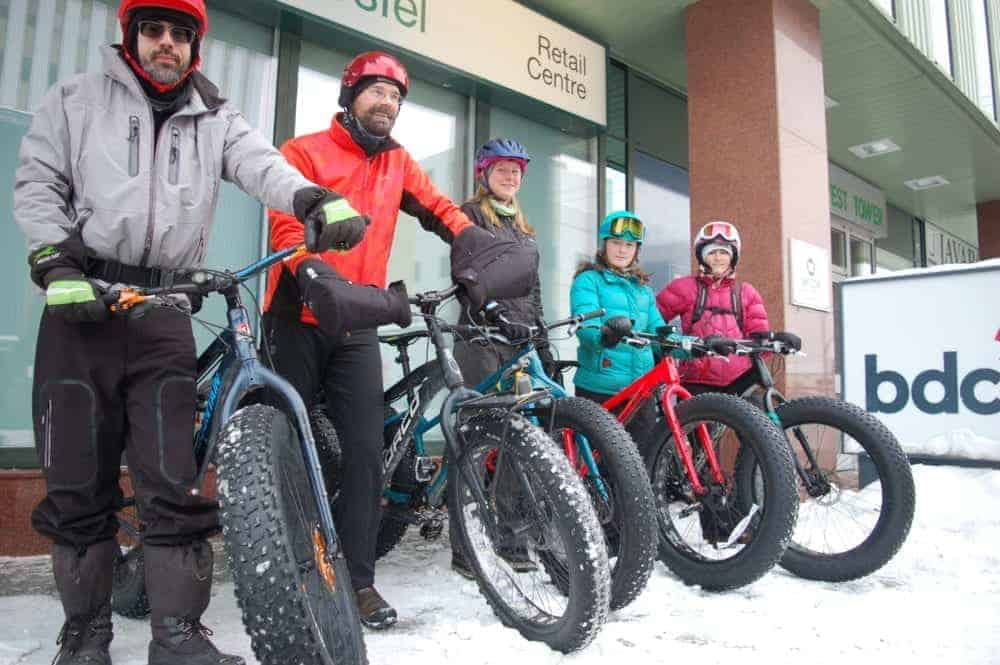 From left: Dennis Brumwell, Steve Schwarz, Shannon Jennings, Sophie Mahon and Clarinda Spikjerman at the Yellowknife Mountain Bike Club's first fat bike group ride of the season. Meaghan Richens/NNSL photo