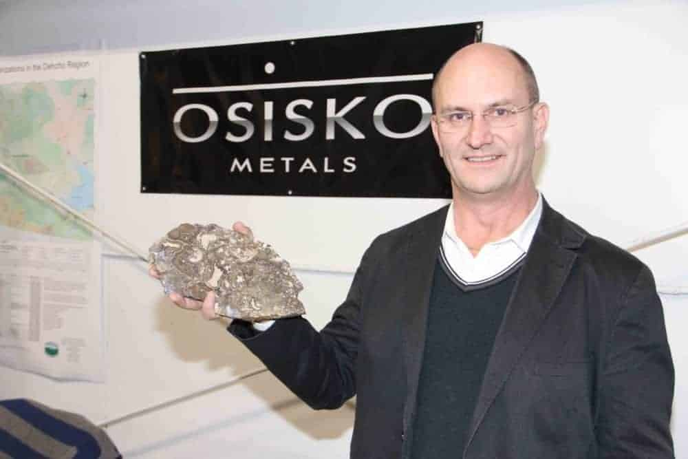 Jeff Hussey, president and CEO of Osisko Metals, holds a piece of rock from the company's Pine Point exploration property at the K'atlodeeche First Nation Mining Symposium, held on Nov. 14 & 15 in Hay River. Paul Bickford/NNSL photo