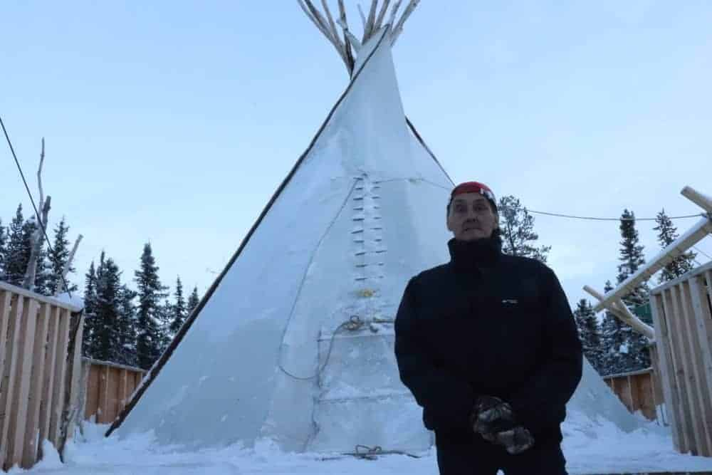 George Koe stands in the 'on the land' camp where is journey to recovery began with a cup of coffee. Dylan Short/NNSL photo