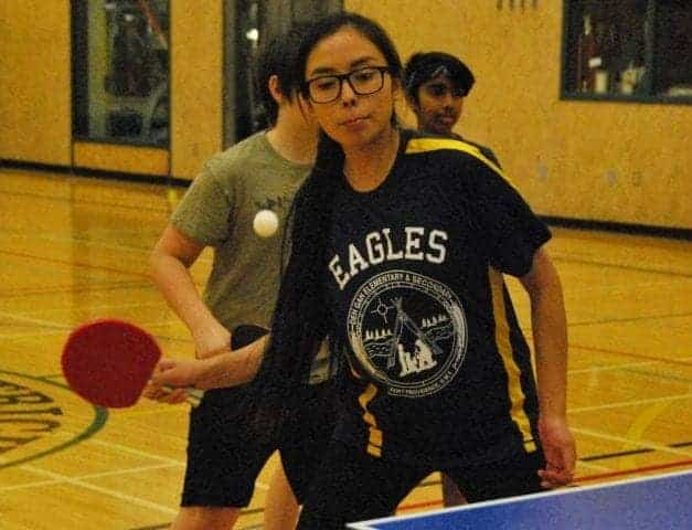 Shannan Bonnterouge of Fort Providence gets set to return a forehand during the second and final set of Canada Winter Games table tennis trials in Yellowknife on Nov. 25. James McCarthy/NNSL photo