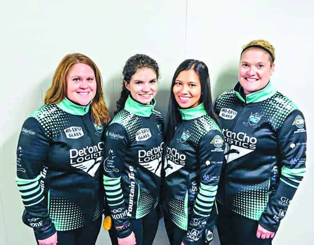Kerry Galusha, left, stands with the rest of her teamSarah Koltun, Brittany Tran and Shona Barbour during a world cup tour event earlier this year. photo courtesy of Team Galusha