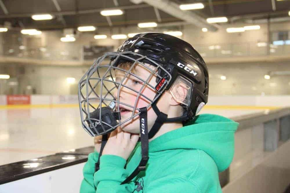 As he always does, nine-year-old Brody Humbke was wearing a helmet and facemask on Dec. 1, the date when new safety standards came into effect for ice users at the Rec Centre. Paul Bickford/NNSL photo