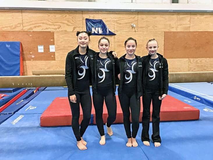 Jade Ko, left Maggie Carson, Emma Leathem, Lindsey Woodford will travel to Red Deer as the Team NT gymnastics team at the 2019 Canada Winter Games. photo courtesy of John Tram