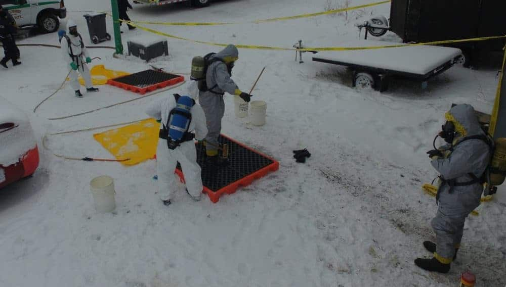 Investigators in hazmat suits were seen at 166 Borden Drive in November 2016, where RCMP Clandestine Laboratory Enforcement and Response (CLEAR) teams from Alberta and B.C. were helping the NWT Federal Investigations Unit and Yellowknife Fire Division carry out a search warrant at the home. Resident Darcey Oake was subsequently arrested and charged with drug-related offences. photo courtesy of RCMP