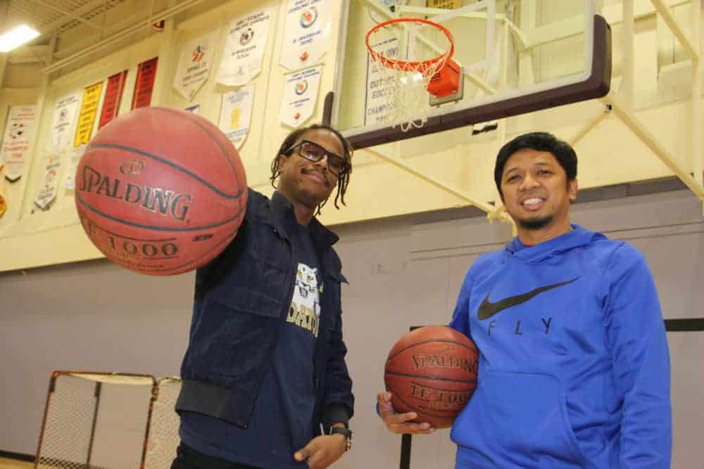 Finno Celestin, left, and Alex Famorcan have organized a Recreational Basketball League, which will begin play on Jan. 13 in the gym at Diamond Jenness Secondary School. Paul Bickford/NNSL photo