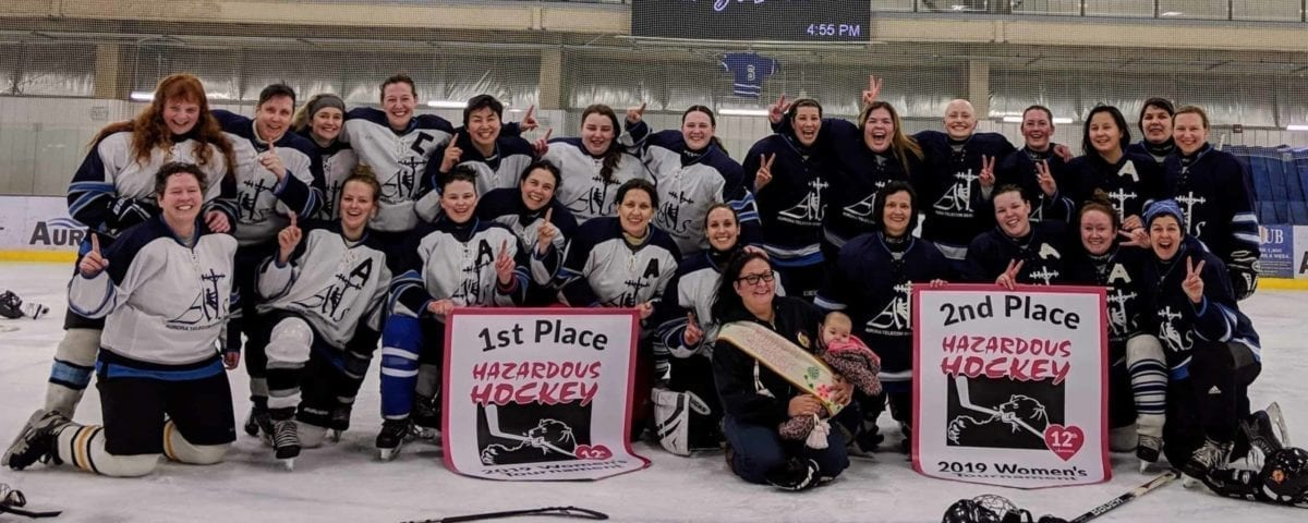 The Yk Women's Hockey League snagged the top two spots at the Hazardous Women's Hockey Tournament in Hay River this past weekend with Yk White beating Yk Blue in the final. They are, in front, Aurora and Peyton Kotokak; middle row from left, Maureen Hans, Jenna Blanchard, Jennifer Ryden, Melanie Parker, Allison Kincaid, Kate Gamble, Karen Brown, Tehnille Gard, Jeanne Yurris and Janna Graham; back row from left, Kim Bergman, Martha Goodman, Alison Harrower, Chloe Dragon-Smith, Donna Bee, Caitlyn Thompson, Contessa Stead, Heather Cane, Heather Atkins-Desjarlais, Jill Alain, Liz King, Nicole Henkel, Laura Krutko and Tracy Mifflin. Missing from photo is Keri-Ann Loutit. photo courtesy of Jen Ryden