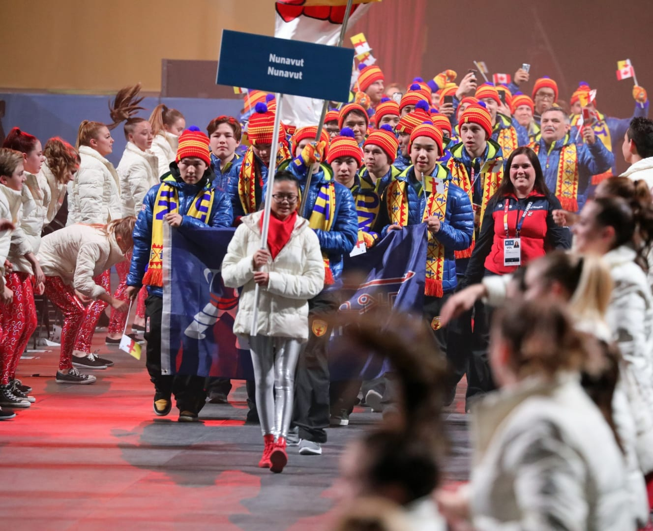 Team Nunavut marches into the opening ceremony of the 2019 Canada Winter Games in Red Deer, Alta., on Feb. 15. Mark Cundict/Canada Winter Games photo