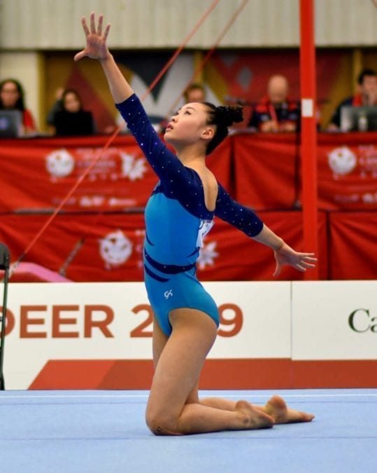 Jade Ko goes through her routine on the floor during gymnastics action at the Canada Winter Games in Red Deer, Alta., on Feb. 17. Rod Ince/Canada Winter Games photo