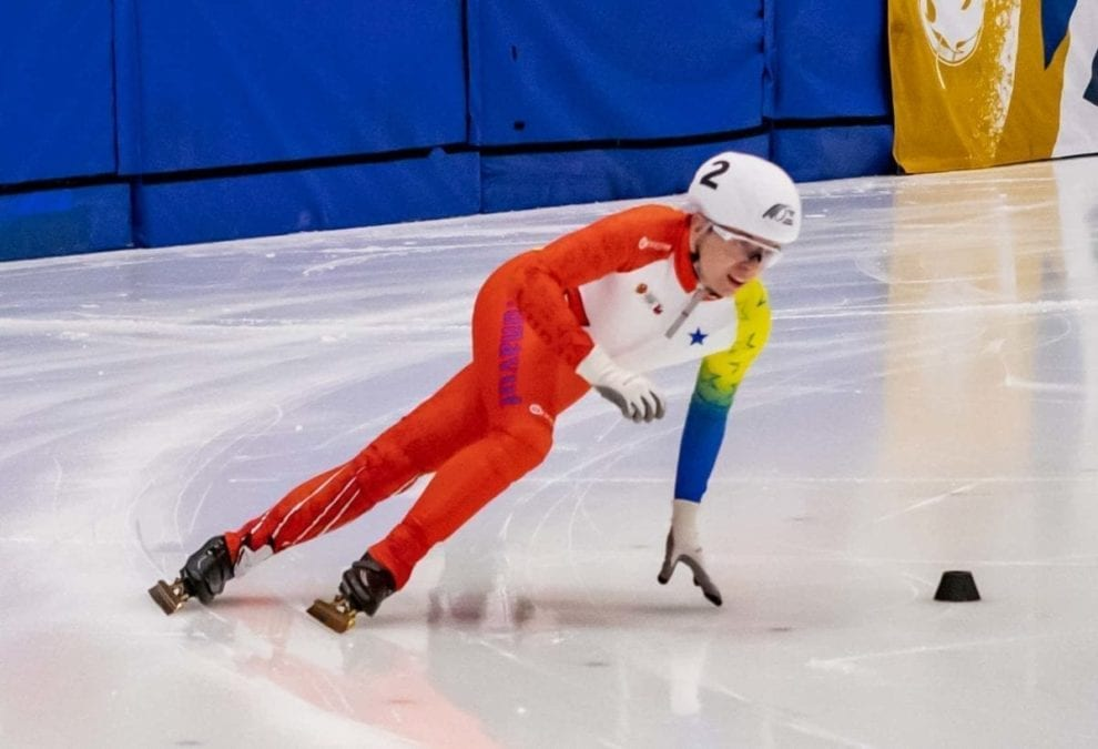 Alex Hejnowicz of Iqaluit comes around the bend during speedskating action at the Canada Winter Games in Red Deer, Alta., on Feb. 17. Peter Fuzessery/Canada Winter Games photo