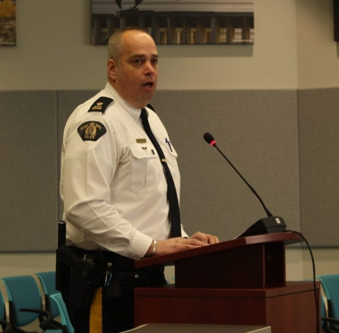 Inspector Alex LaPorte delivered a list of crime statistics to council from the month of January. Brett McGarry/NNSL Photo