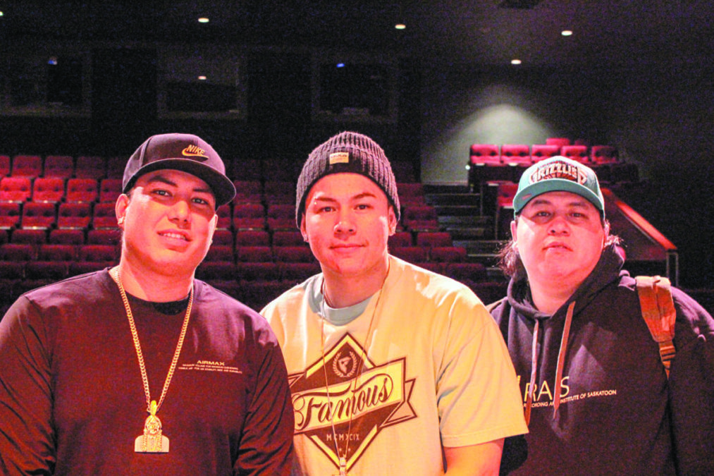 Mike Scott, left, Lawrence Brass and Dwayne Brass, right, (BrownCanShine) at the NACC theatre about to present to youth from Yellowknife, Dettah and Ndilo about their life experiences dealing with and growing up in small communities outside of Saskatoon, Saskatchewan. Brett McGarry/NNSL Photo