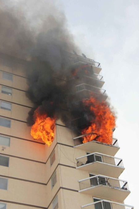 A fire broke out in an apartment on the 11th floor of Hay River's Mackenzie Place - commonly referred to as the highrise - on the afternoon of March 15. Paul Bickford/NNSL photo