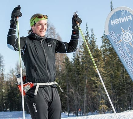 Petter Jacobsen is all smiles as he crosses the finish line at the Yellowknife Ski Club first in the solo men's ski division of the Frostbite 50 race on Sunday. Brett McGarry/NNSL Photo