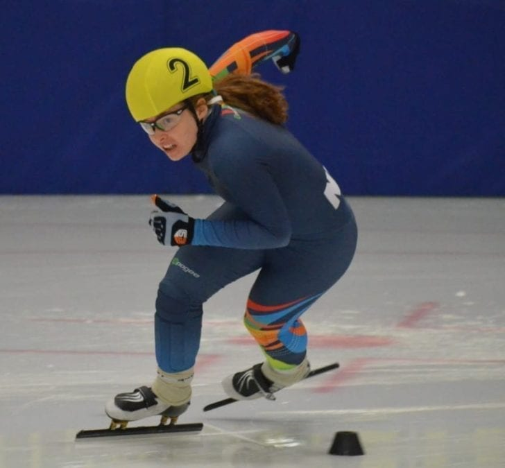 Wren Acorn, seen during the NWT Speedskating Championships earlier this month, finished ninth overall at the Canadian Junior Selection Meet in Sherbrooke, Que., last weekend. NNSL file photo