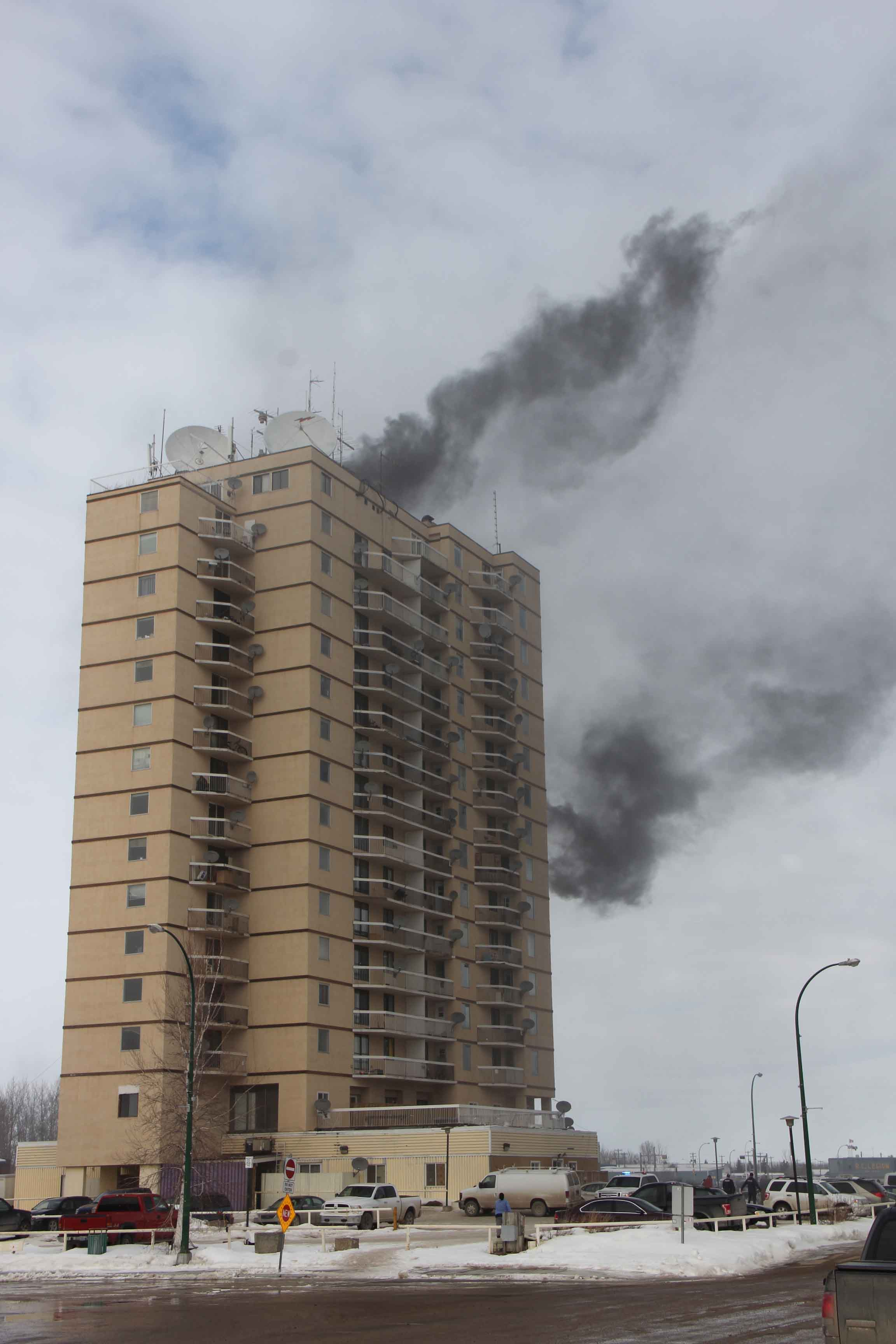 Hay River is still dealing with the aftermath of a March 15 fire on the 11th floor of the Mackenzie Place apartment building. No residents are currently living in the structure and it is uncertain when they may return. NNSL file photo