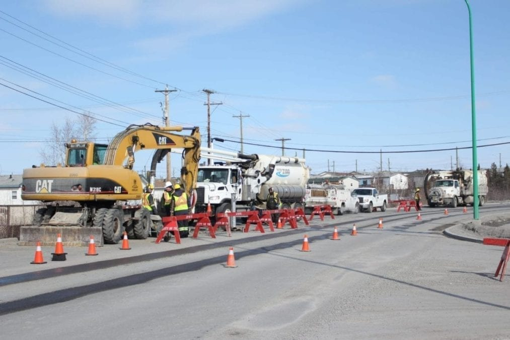 An leaking sewage line causing road closures at Kam Lake Road and Coronation Drive has drivers travelling through one lane on Tuesday. Crews are working on fixing the line and the road closures are expected not expected to last into the weekend. The last sewage leak in the Kam Lake area was in January of 2018. Brett McGarry/ NNSL photo