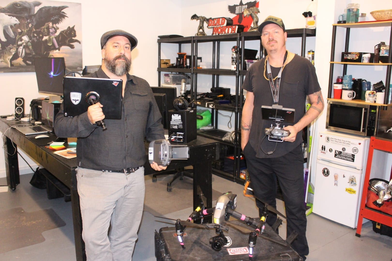 Pablo Saravanja, left, and Jay Bulckaert with their Inspire 2 drone they use for their media production company Aerials North. Bulckaert is the certified pilot who operates the drone while Saravanja works the camera.