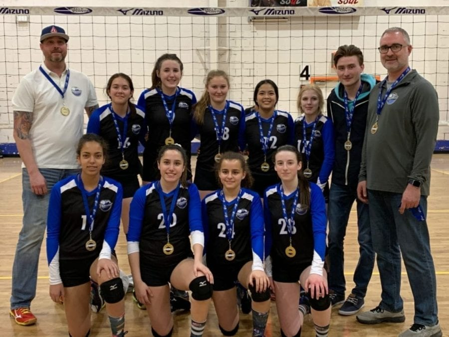 The Potential Volleyball Club's 16U girls squad is all smiles after winning gold in Division 5 at the Alberta Volleyball Premier 3 Tournament in Calgary on Sunday. They are, front row from left, Yazmin Macintosh, Emily Carroll, Iman Livingstone and Katie Genge; back row from left, assistant coach Mike Thompson, Katherine Smallwood, Brianna Helyar, Mali Straker, Pam Olimpo, Paige Kenney, assistant coach Branden Horn and head coach Darren Horn. photo courtesy of Natalie Bolleter