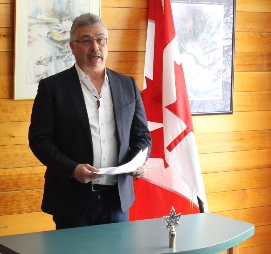 MP Micheal McLeod announced the funding on April 18 at the Yellowknife Women's Society. Brett McGarry/NNSL photo
