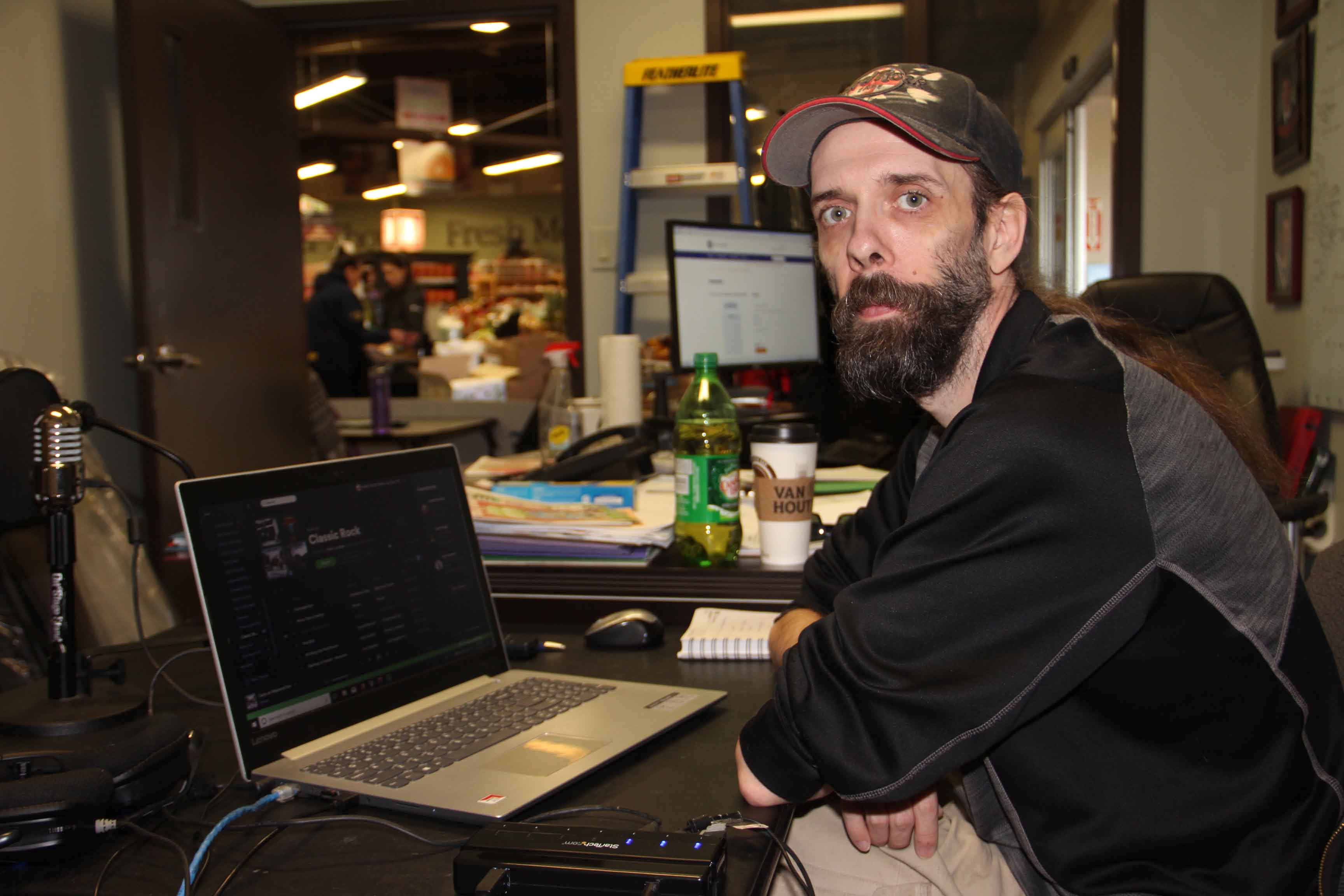 Mark Lundbek, the manager of CKHR, has been remotely overseeing the community radio station from Super A grocery store. The station - located in the Mackenzie Place highrise building - has been largely inaccessible since a March 15 fire damaged the building. Paul Bickford/NNSL photo