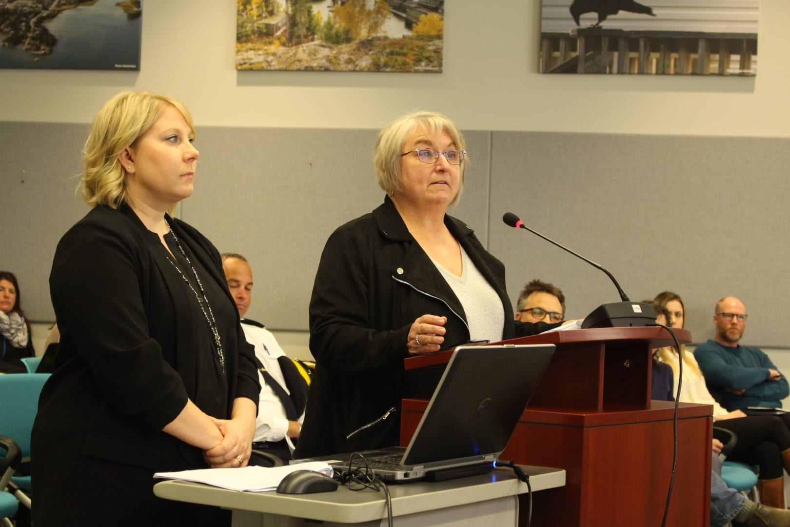 Nathalie Nadeau, left, and Denise McKee, executive director of NWT Disability Council, made their case for the positive impact the sobering centre and day shelter is having on the community. Brett McGarry/ NNSL Photo