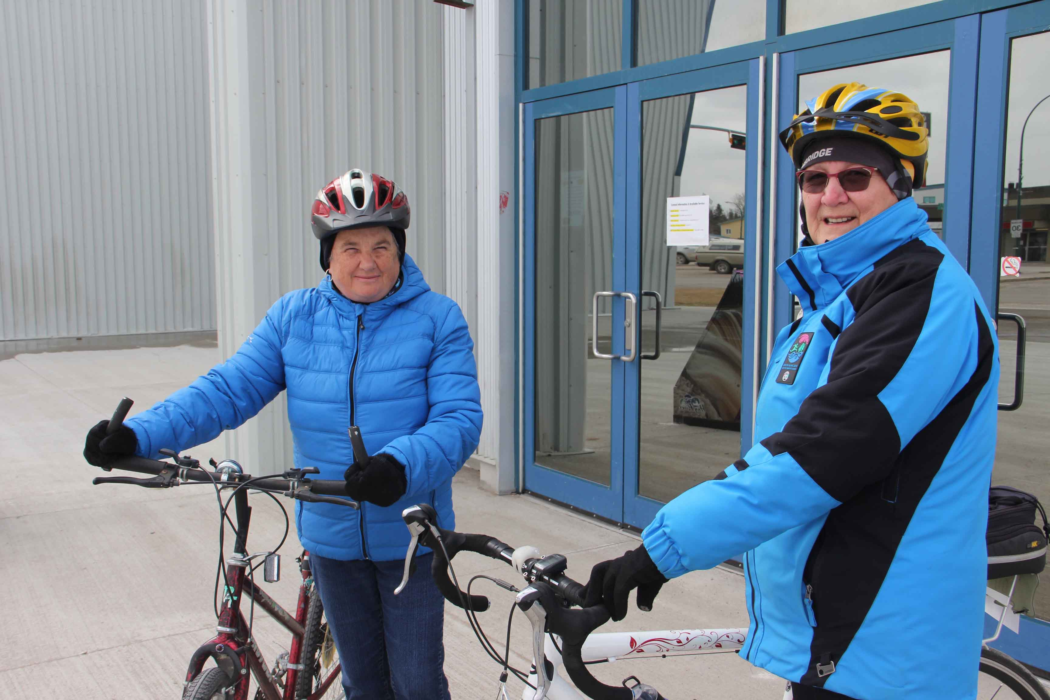 Nancy Makepeace, left, and Bonnie Crowther kicked of Women of Wheels in Hay River with a bike ride on May 1. Women on Wheels is set for each Wednesday of May. Paul Bickford/NNSL photo