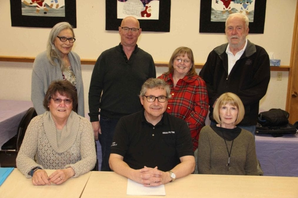 The new executive and board of directors of the Hay River Museum Society includes, front, left to right, vice-chair Bonnie Crowther, chair Tom Lakusta and secretary Sheila Cook; and board members, back row, left to right, Mattie McNeill, Randy West-Pratt, Judy West-Pratt and Peter Osted. Missing from the photo are treasurer Linda Carter and board member Vicky Latour. Paul Bickford/NNSL photo