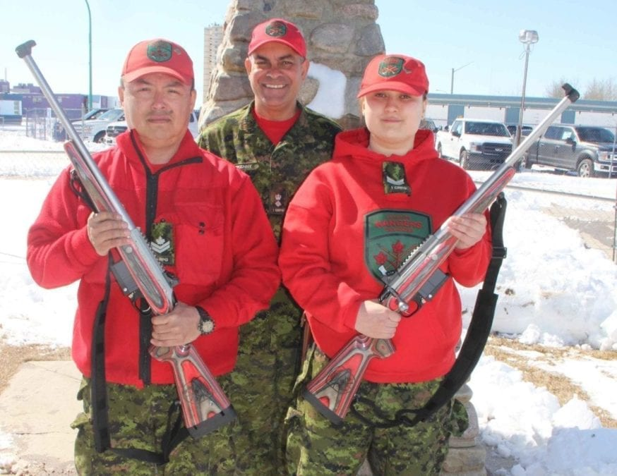 Members of the Hay River Canadian Ranger Patrol,– including Master Corporal Kevin Lafferty, left, and Corporal Kayla Hoff, right, – have received the new C-19 Ranger Rifle to replace the Lee-Enfield Mark 4 Rifle, which Canadian Rangers have used since 1947. In the background is Lieutenant-Colonel Tim Halfkenny of Yellowknife, the commanding officer of the 1st Canadian Ranger Patrol Group. Paul Bickford/NNSL photo