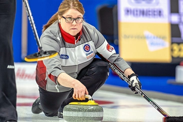 Kerry Galusha, seen during the Scotties Tournament of Hearts this past February, was back out on the road with her rink of Sarah Koltun, Shona Barbour and Jo Ann Rizzo, the team's new second, to play in the StuSells Oakville Tankard in Oakville, Ont., which wrapped up this past Sunday. Andrew Klaver/Curling Canada photo