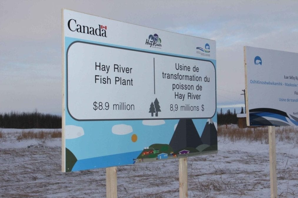 Signs were erected on land on the west side of Studney Drive, near the South Mackenzie Correctional Centre, for the announcement in January of funding for a new fish plant in Hay River. NNSL file photo