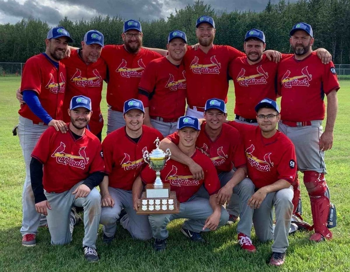 The Home Building Centre Cardinals are your 2019 NWT Men's Fastpitch Championship winners after defeating the Fire Prevention Prospectors in the final in Fort Simpson on July 28. They are, front row from left, Matt Walker, Devin Case, Brady Daniels, Jaden Beck and John White; back row from left, Brian Couvrette, Mike Dove, Mike Auge, Alex Brockman, Devin Hinchey, Garrett Hinchey and Chris Cahoon. photo courtesy of Garrett Hinchey